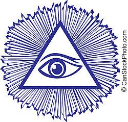 眼睛, 在中, 上帝, 或者, 所有, 看见, 眼睛, 在中, 上帝, -, 著名, 石匠, 符号, 矢量, 描述