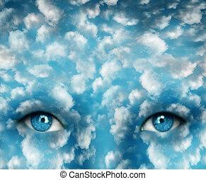 眼睛, 在, the, 天空