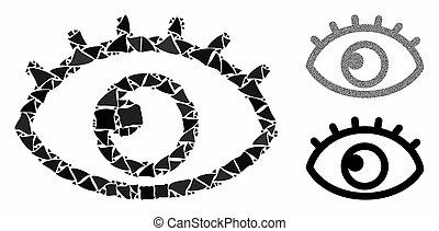 眼睛, 块, 突然, 马赛克, 图标