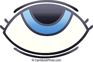 眼睛, 坡度, 向上, 看, 遮掩, 卡通
