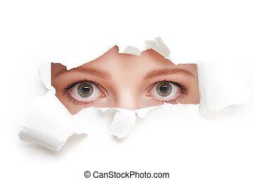 眼睛, ......的, 婦女, 偷看, 透過, a, 洞, 撕破, 在, 白色, 紙, 海報