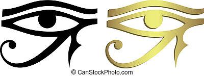 眼睛, ......的, horus, 在, 黑色和, 金