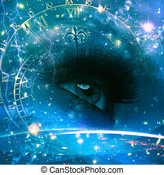 眼睛, ......的, the, 宇宙, 摘要, 環境, 背景