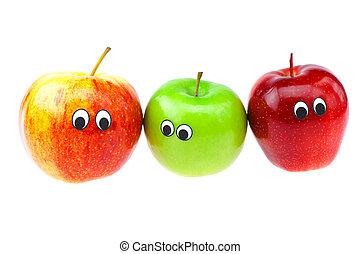 眼睛, 臉, 被隔离, 白色, 蘋果