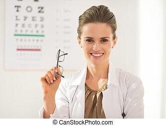 眼科医, メガネ, 医者, s, 女, 前部, 幸せ