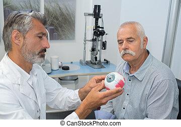 眼科医, 患者, 提示, 目, モデル, シニア