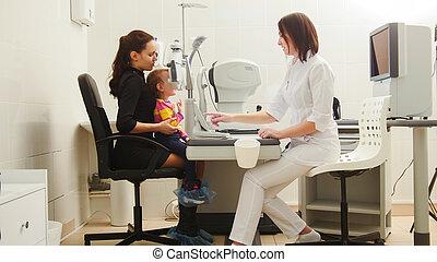 眼科医, 目, -, 医院, レセプション, 母, 娘