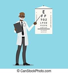 眼科医, 立ちなさい, アメリカ人, テスト, 光景, アフリカ