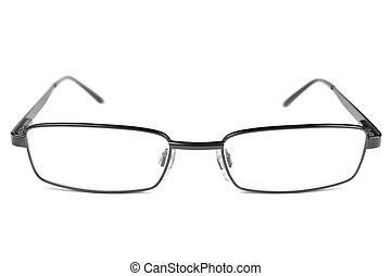 眼鏡, フレーム, マクロ, 男性, 隔離された, チタン, 黒, クローズアップ, メガネ