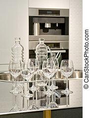 眼鏡, 以及, 瓶子, 上, a, 洗滌槽