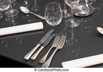 眼鏡, 刀叉餐具, 在桌子上, a, 偉大, 餐館