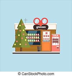 眼鏡, 商店前面, 在, 圣誕節。, 矢量, 插圖