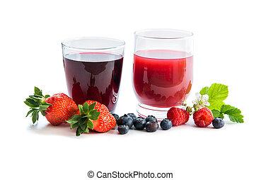 眼鏡, ......的, 新鮮, 青梅, 以及, 草莓, 汁, 由于, 漿果