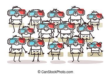 眼鏡, 組,  3D, 人們