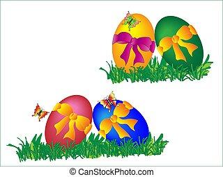 着色された卵, 明るい, 蝶, お辞儀をする, イースター