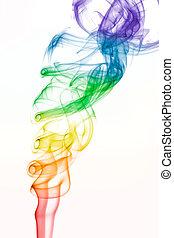 着色される虹, パターン, くるくる回る, 煙, 白