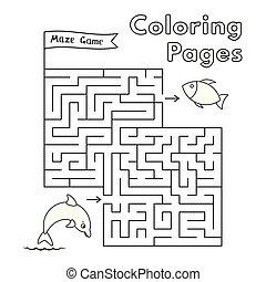 着色, イルカ, ゲーム, 本, 迷路, 漫画