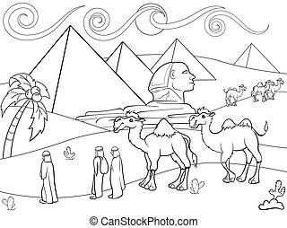 着色, エジプト, ベクトル, ピラミッド, 子供, 風景