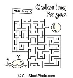 着色, ゲーム, 本, 迷路, クジラ, 漫画