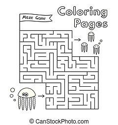 着色, ゲーム, 本, 迷路, 漫画, くらげ
