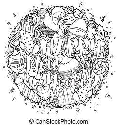 着色, セット, カード, ページ, pattern., 挨拶, 印刷, 理想, 本, 陽気, モノクローム, 休日, クリスマス, クリスマス