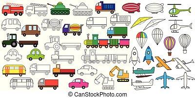 着色, セット, illustration., 自動車, book., ベクトル, icons., transportation.