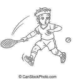 着色, テニス, ページ, プレーヤー