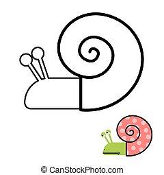 着色, ハマグリ, かたつむり, らせん状に動きなさい, book., ベクトル, gastropoda, イラスト, shell.