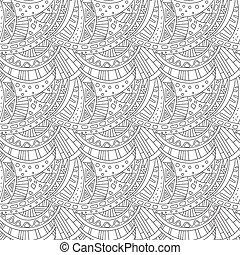 着色, パターン, 装飾, seamless, 本, デザイン, zentangle, ページ