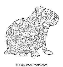 着色, ベクトル, 本, イラスト, capybara