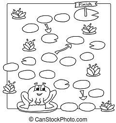 着色, ページ, 本, ゲーム, ベクトル, frog., テンプレート, 子供