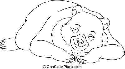 着色, ページ, 熊, 睡眠