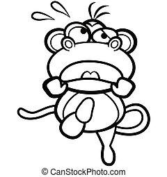 着色, ユーモア, サル, 動くこと, 背景, 白, 漫画