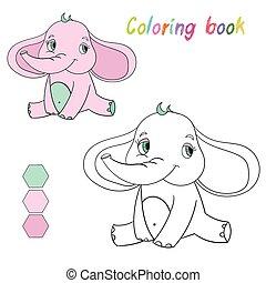着色, レイアウト, 子供たちがゲームをする, 本, 象