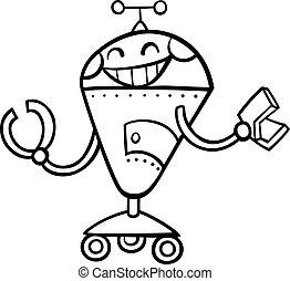 着色, ロボット, イラスト, 漫画