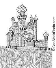 着色, 中世, ベクトル, 城, 本, 成人