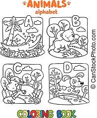 着色, 動物, アルファベット, abc., 本, ∥あるいは∥