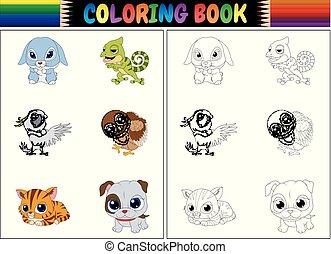 着色, 動物, 本, コレクション, 漫画
