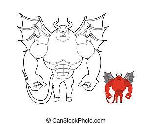着色, 大きい, muscles., 悪魔, ひどい, book., underworld., ボディービルダー, 悪魔, satan, 赤, helluva, 翼, horns.