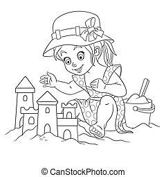 着色, 女の子, 城, 砂, ページ, 建物