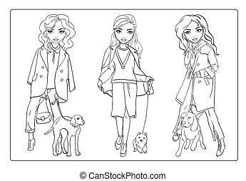 着色, 女の子, 歩きなさい, ∥(彼・それ)ら∥, 本, 犬