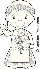 着色, 容易である, 服を着せられる, ポーランド, 特徴, 伝統的である, ベクトル, 方法, 漫画, illustration.
