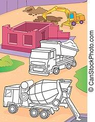 着色, 掘削機, ミキサー, セメント, 本, トラック