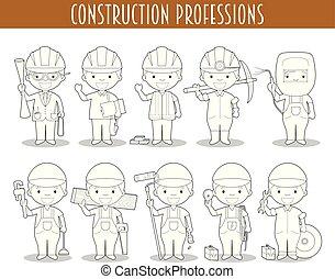 着色, 放置, 职业, 卡通漫画, 矢量, 建设, style.