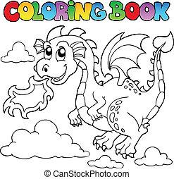 着色 本, ドラゴン, 主題, イメージ, 3