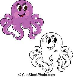 着色 本, 漫画, octopus.