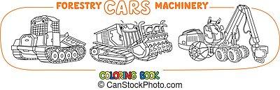 着色, 横滑りする, 本, 自動車, machinery., 林業, mulcher, トラクター, セット, 収穫機