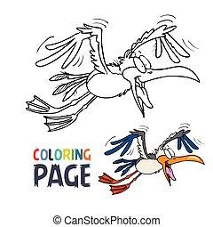 着色, 漫画, 飛行, ページ, 鳥