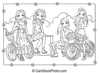 着色, 自転車, 女の子, ロマンチック, 本