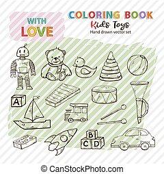 着色, 芸術, クリップ, いたずら書き, シルエット, コレクション, 手, 本, 子供, おもちゃ, 引かれる, セット, スタイル